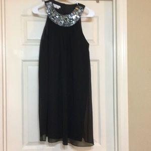 London Times Black Dress with Sequin Neckline